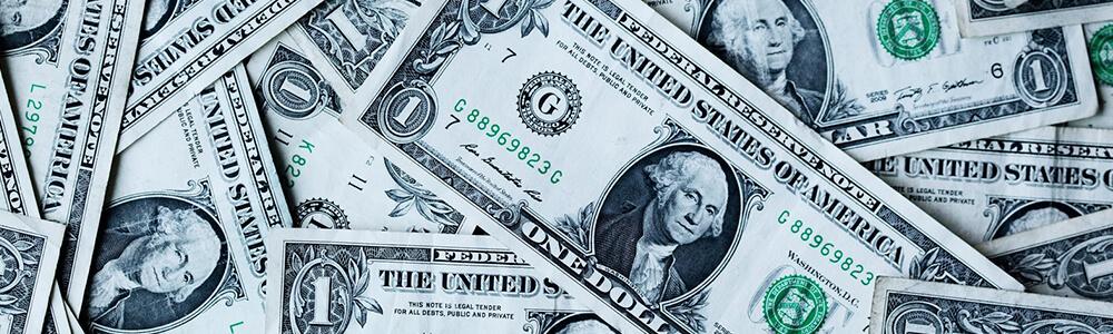 scattered one dollar bills